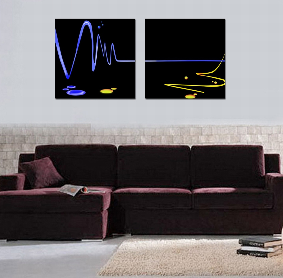 2015 Top Fashion abstract future frequency blue line 2 panels oil painting print on canvas wall art home decor free shipping(China (Mainland))