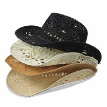 Hollow Straw Cowboy Hat 4 Colors Invisible Iron Line Special Handmade Sunhats Gift For Men And Women(China (Mainland))