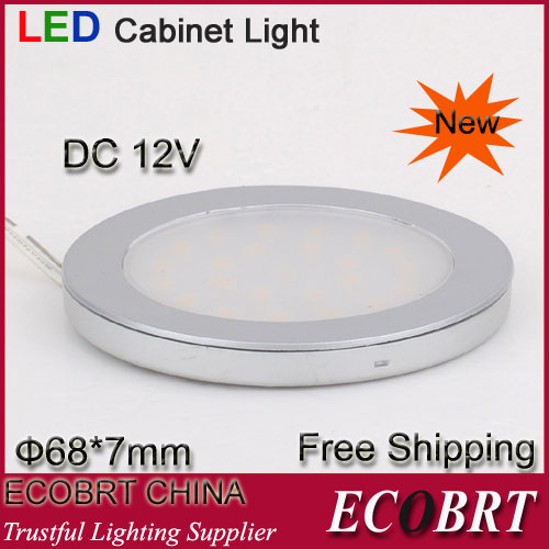 Round flat silver white surface 2w SMD3528 12V Kitchen LED Under Cabinet Light Downlight aluminum decorative light (6pcs/lot)(China (Mainland))