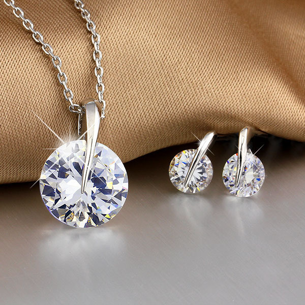 Korean personality exquisite large rhinestone necklace earring set wedding accessories bride jewelry set vestido de formatura(China (Mainland))