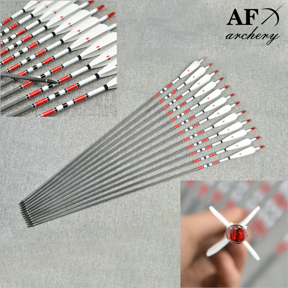 12x Carbon Arrows 400 500 600 spine with 4pcs Turkey feather for Longbow Recurve Bow Hunting