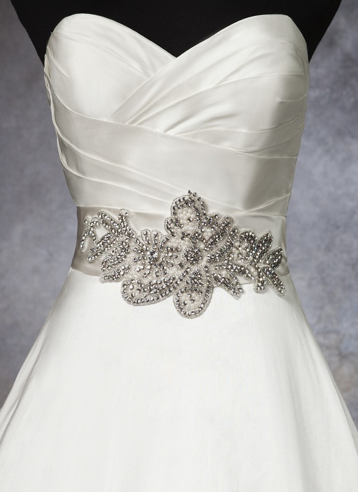 Wedding dress waistband regal satin bias belt with for Satin belt for wedding dress