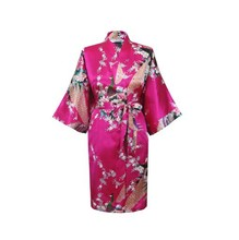 Silk Satin Wedding Bride Bridesmaid Robe Floral Bathrobe Short Kimono Robe Night Robe Bath Robe Fashion Dressing Gown For Women(China (Mainland))
