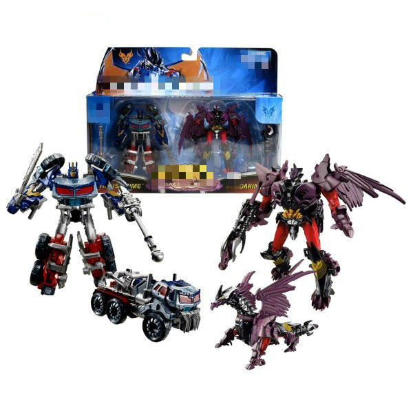 Original High quality ABS Deformation Robot Optimus Prime and Predaking Action figures Toys Set for Boys Birthday Gift(China (Mainland))