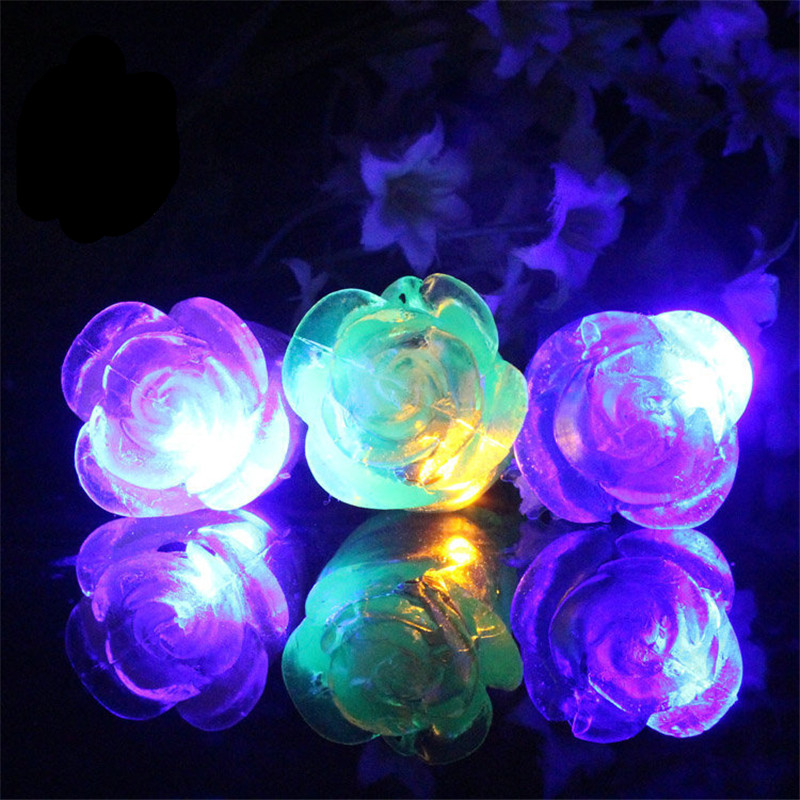 50pcs/lot Rose LED Flashing Light beauty Rings battery Blinking Party Light Up Glow Finger Ring for Wedding party decoration(China (Mainland))