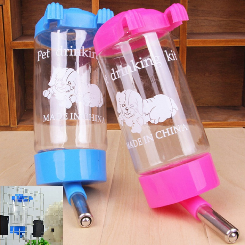 Free Shipping Pets Puppy Cat Dog Hanging Drinking Bottle Water Feeder Metal Pipe New Arrival High Quality(China (Mainland))