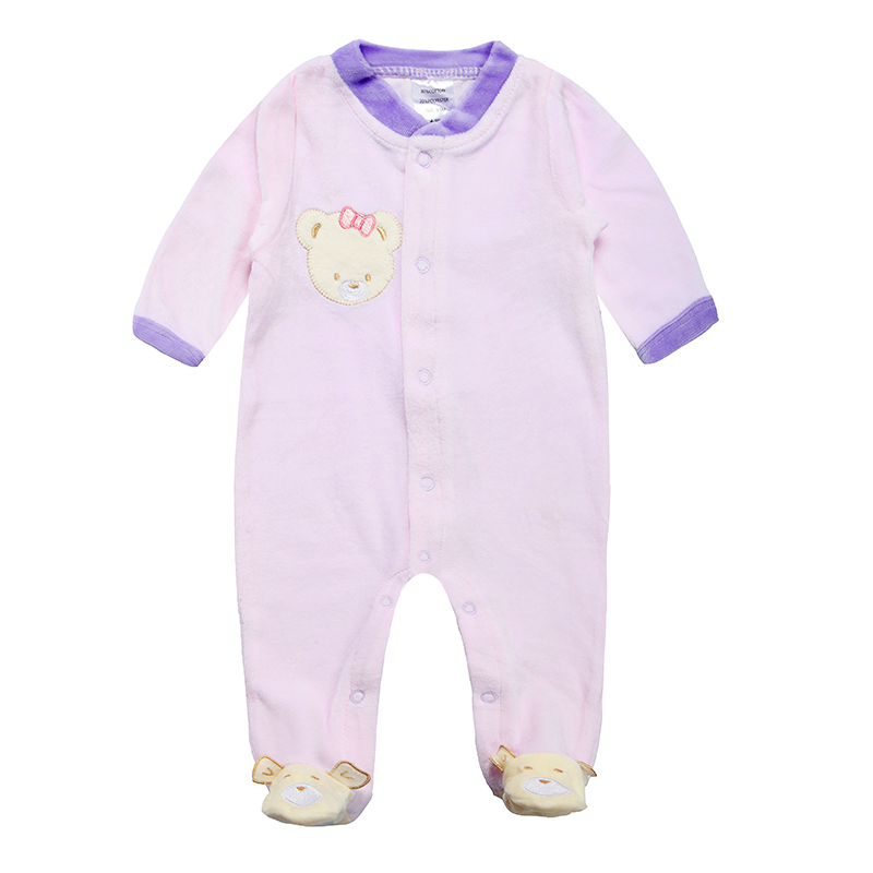 Kiddiezoom Baby Romper For 3M-9M Foot Cover Sleepwear Baby Boy Girl Full Sleeve Newborn Velour Rompers Free Shipping(China (Mainland))