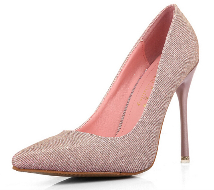 #1986 New European Fashion Leather Pointed High Heels Silver/Pink/Gold Party/Wedding Shoes Pumps women 2015 Euro Size 34-39 - Just for ladies store