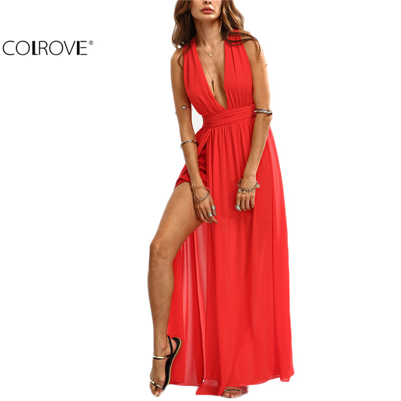 COLROVE Ladies Beach Wear Red Plunge V-neck Split Self-tie Criss Cross Back Sleeveless Backless Long Maxi Dress(China (Mainland))