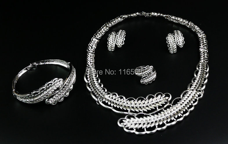 African Beads Jewelry Set 18k Gold White Sapphire Clear Austrian Crystal Women Wedding Necklace Bracelet Earring Ring M2308 - Jacky's Fashion Store store