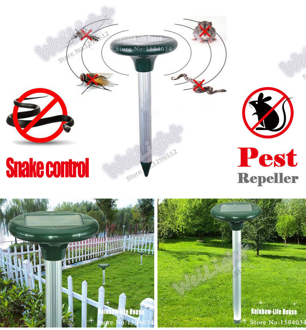 100% Original Wholesale Solar Powered Rat Mice Snake Rodent Mole Pest Repellent Sonic Garden Wave Repeller WLN-1012(China (Mainland))