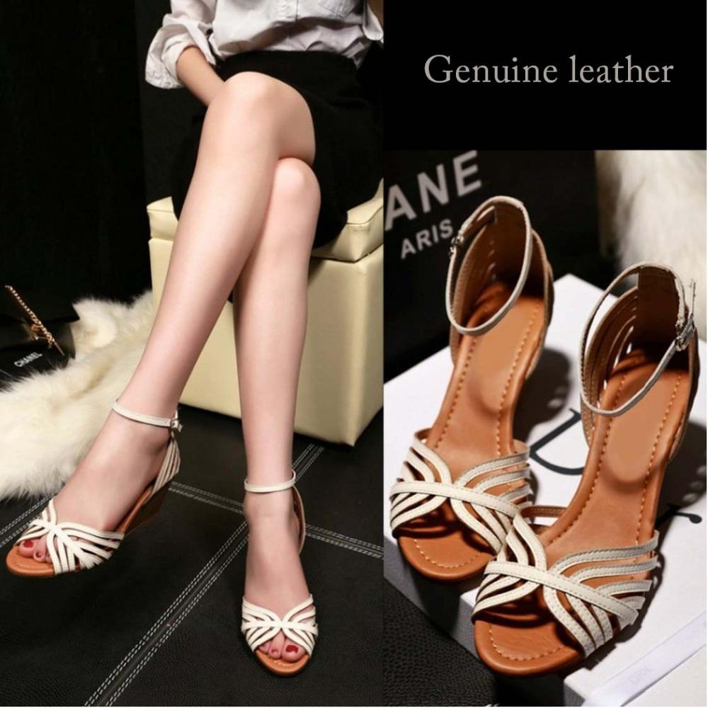 Sandals shoes comfortable - 2015 Summer Comfortable Elegant Mother Sandals Shoes Genuine Leather Wedges Sandals Ladies Office Sandals