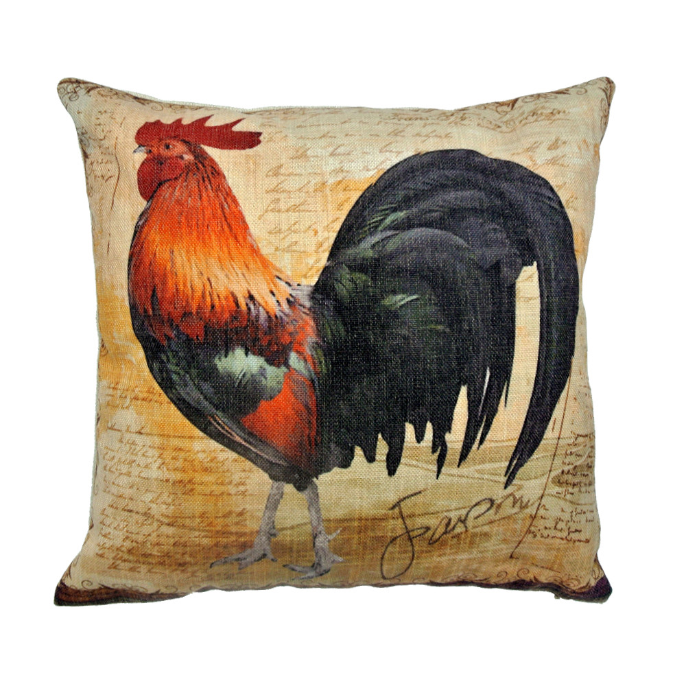 Rustic Rooster Cotton Linen Pillow Cover & Decorative Throw Pillow Cover