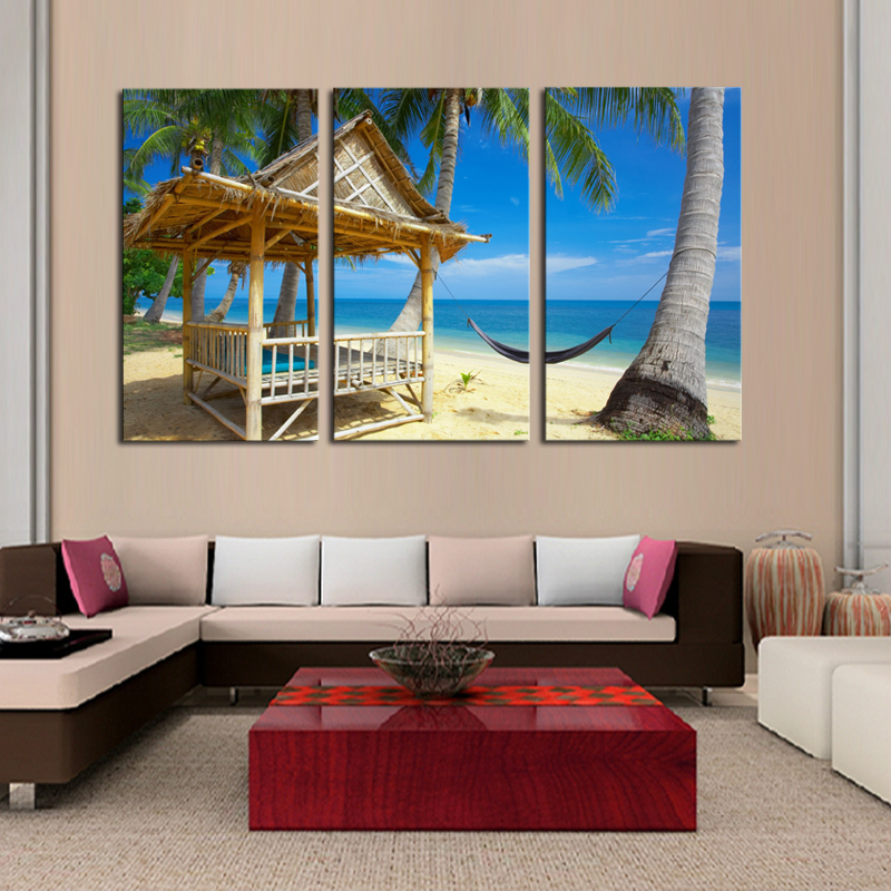 3 pcs home decor canvas frameless beach coconut trees for Canvas decorations for home