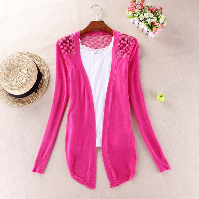 New 2015 Hot Fashion Women Cardigan Sale Lace Sweet Candy Pure Color Slim Crochet Knit Blouse Sweater Cardigan(China (Mainland))