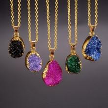 Women New Fashion Colorful Quartz Necklace Stone Irregular Columns Round Shape Gold Plated Necklaces