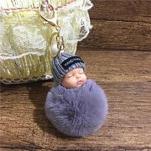 Moda dormir bebê boneca chaveiro feminino fofo pompom chaveiro llaveros pom pom chaveiro chaveiro saco chaveiro pompon porte(China)