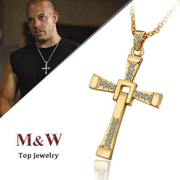 High Quality 18K Gold Plated Fast and Furious Cross Pendant Man Necklace Jewelry for Men