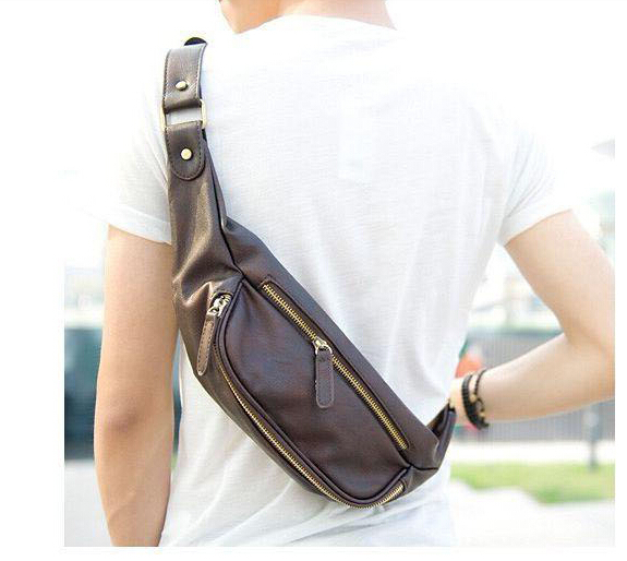 2015 Korean Style Casual Men PU Leather Waist Bag outdoor waist pack belt bag fanny pack Bumbag High Quality(China (Mainland))