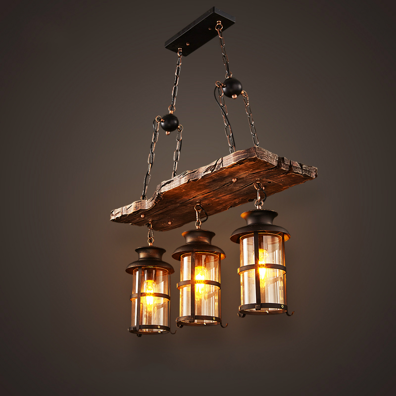 New Original Design Retro Industrial Pendant Lamp 3 Head Old Boat Wood American Country style Nostalgia Light Free Shipping(China (Mainland))