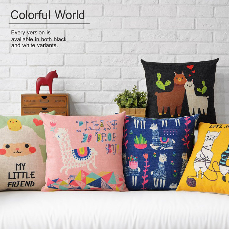 cute animal alpaca friend word hearts pattern cushion cover home decorative throw pillow case - ninety one store