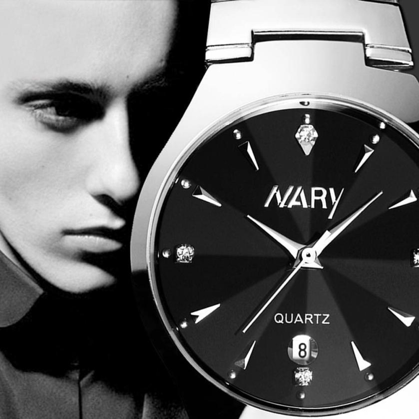 2015 1PC Luxury Men Single Calendar Quartz Stainless Steel Date Wrist Watches For Students Boys Men Watch Wood Style Watch Men<br><br>Aliexpress