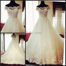 Wonderful Design Boat Neck Cap Sleeve Ball Gown Bridal Dress Gown 2016 Appliques Sparkly Luxury Wedding Dresses Vestido de Festa(China (Mainland))