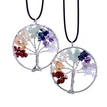 Wisdom Tree Necklaces Chakra Citrine Amethyst Opal Agate Beaded Natural Stone Pendant Necklace Leather Chains Christmas Gifts(China (Mainland))