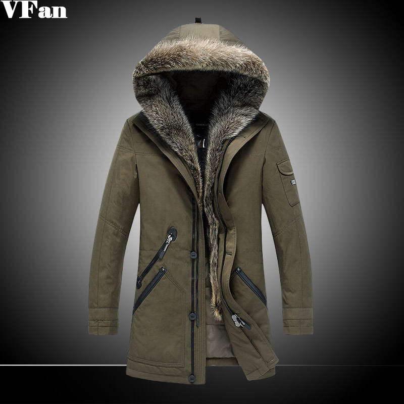 Men s Winter Coat Down Jacket Big Fur Collar Hat Detachable Thick Warm Casual Cotton Outerwear
