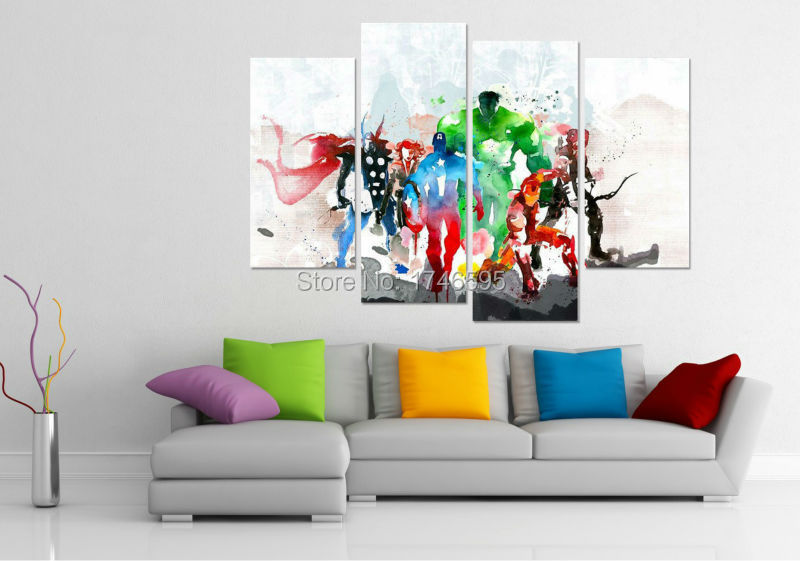 Big size 4pcs modern living room decor home decorative the avengers Wall Art Picture printed oil Painting on Canvas art prints-in Painting & Calligraphy ...