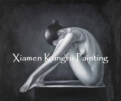 100% handpainted naked painting black white abstract art oil on canvas high quality(China (Mainland))