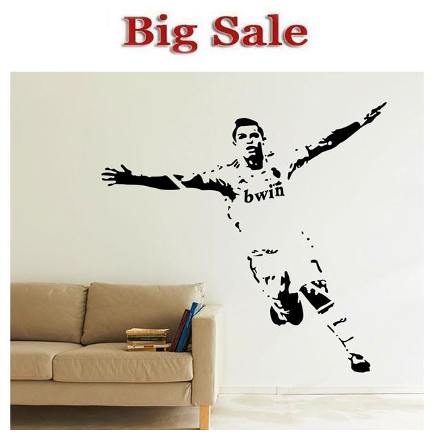 Free Shipping Home Decor Wall stickers 1110mm*1180mm PVC Vinyl Removable Art Mural Home decor Football Cristiano Ronaldo(China (Mainland))