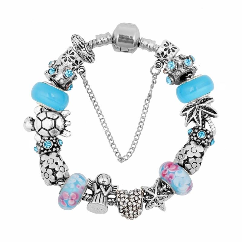 Charming Me Beach style turtle charm blue glass bead fit pandora charm bracelet 2015 for women(China (Mainland))