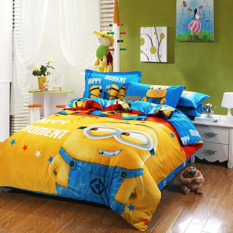 100 coton bande dessin e minion ensembles de lit pour - Ensemble draps lit double ...