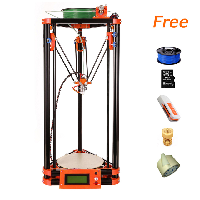 LCD Display 3D Printing Machine kits 3d printer kossel k800 XL 3d Printer Kit With One Roll Filament 8GB SD card for Free