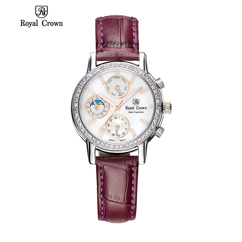 Royal Crown 6420 Italy Brand MIYOTA Switzerland Diamond Multi-function genuine leather Women   quartz watch relogio feminino