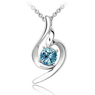 Fashion 18K white gold plated austrian crystal women Angel bullet Pendants necklace(China (Mainland))
