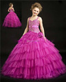 Hot New Design Unique Beaded Ball Gown Princess Dress Organza Flower Girl Dress
