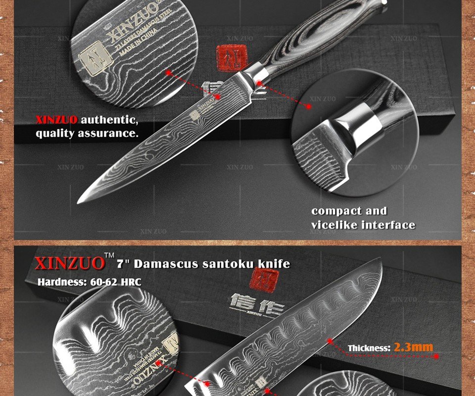 Buy xinzuo 3 pcs kitchen knives set Japan Damascus kitchen knife set 73 layer VG10 chef knife chef utility wood handle free shipping cheap