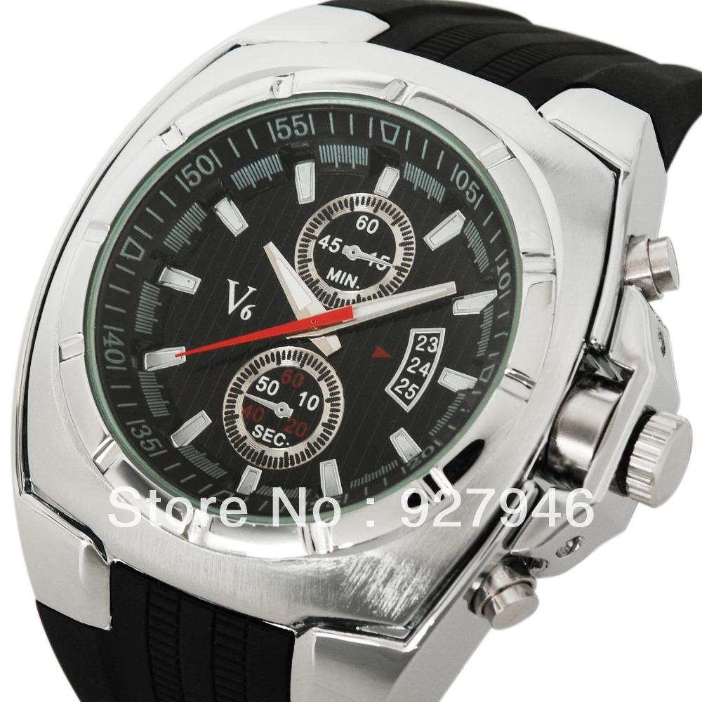 Top brand v6gt watches men luxury montre homme Japan movement reloj hombre quartz silicon wristwatches relogio masculino - Cass store