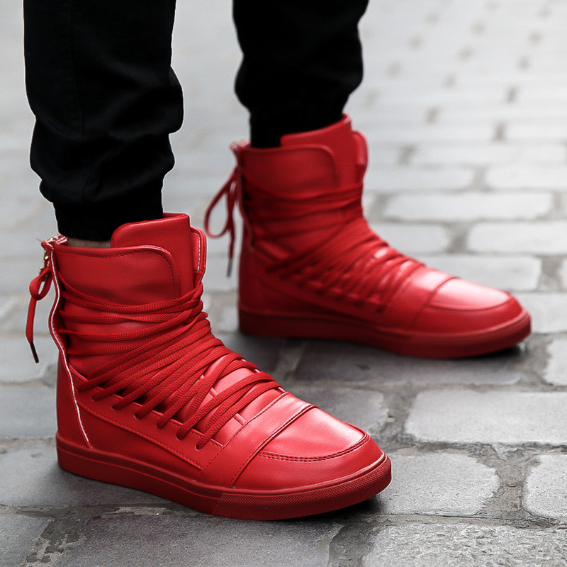 New Men Casual Shoes Top Quality Pu Leather Men High Top Shoes Fashion Lace Up Breathable Hip Hop Shoes Men Red Black White(China (Mainland))