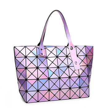 NWT Bao bao women pearl bag laser sac bags Diamond Lattice Tote geometry Quilted shoulder bag Foldable handbags with logo