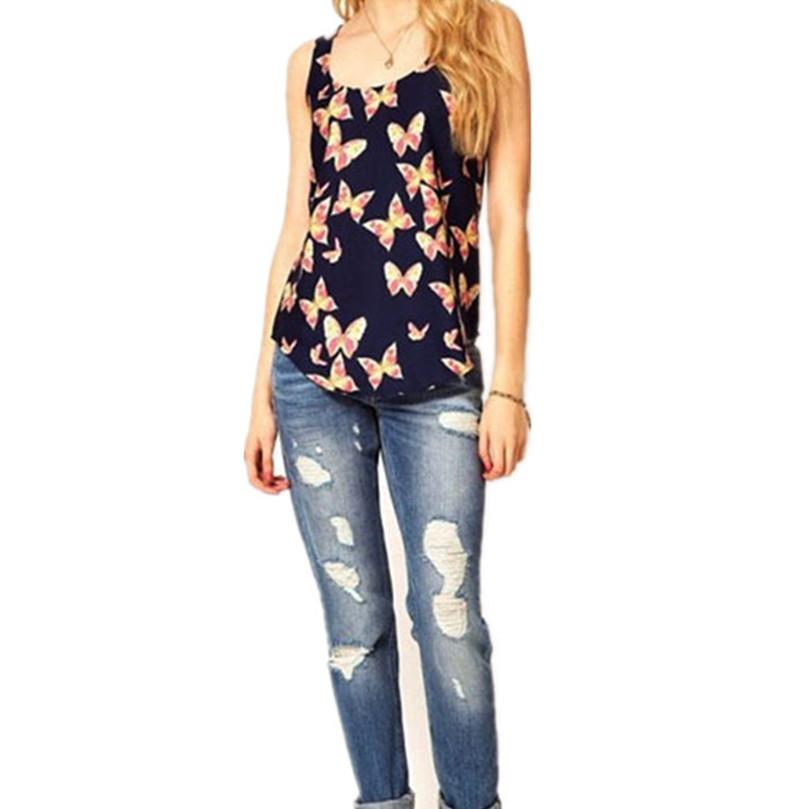 Toopoot's Vestido 2016 Women Butterfly Print Sleeveless Sexy Chiffon Tank Shirt Crew Vest Plus Size crop tops femmes - Vestidos store
