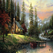 Wall Landscape Oil Painting By Numbers Pinturas Al Oleo Home Cuadros Decoracion Pictures Canvas Oil Painting Coloring By Number(China (Mainland))