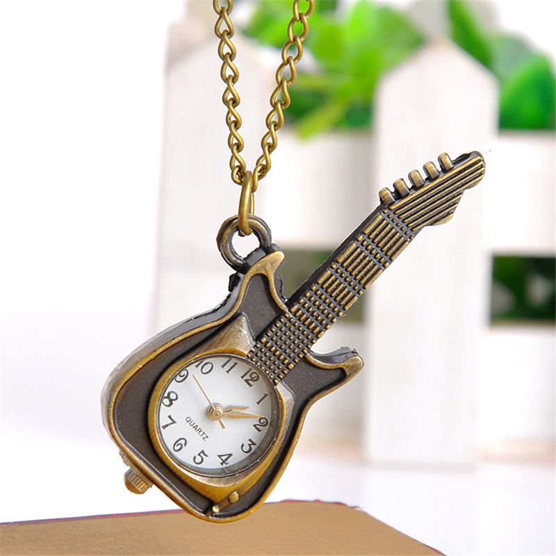 Guitar Crafts Watch Bracelet Necklace Unisex Women Men Fashion Antique Children Boy Clock Girl Wrist watches relogio Gift XF0633(China (Mainland))