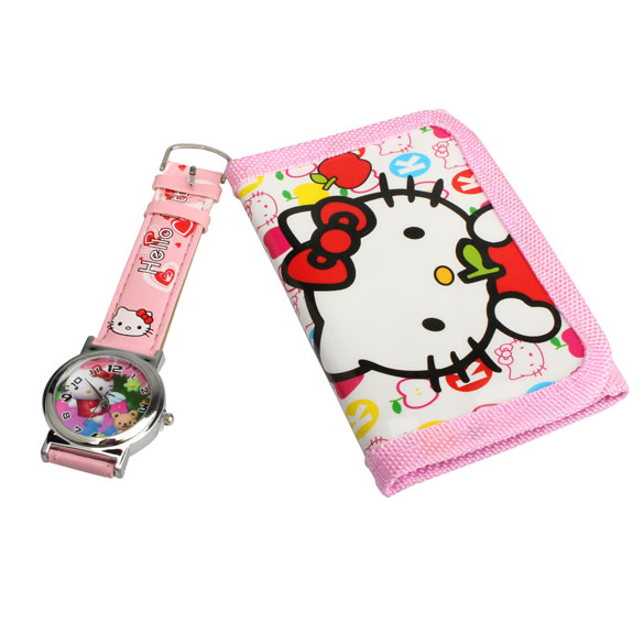 2 In 1 Cartoon Watch With Purse Hello Kitty Quartz Watch Lovely Pink Purse For Kids BS88(China (Mainland))