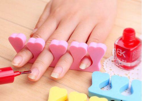 10 Nail Art Sponge Foam Finger Toe Separator Salon Pedicure Manicure Nail Art Tool Soft Color Random(China (Mainland))