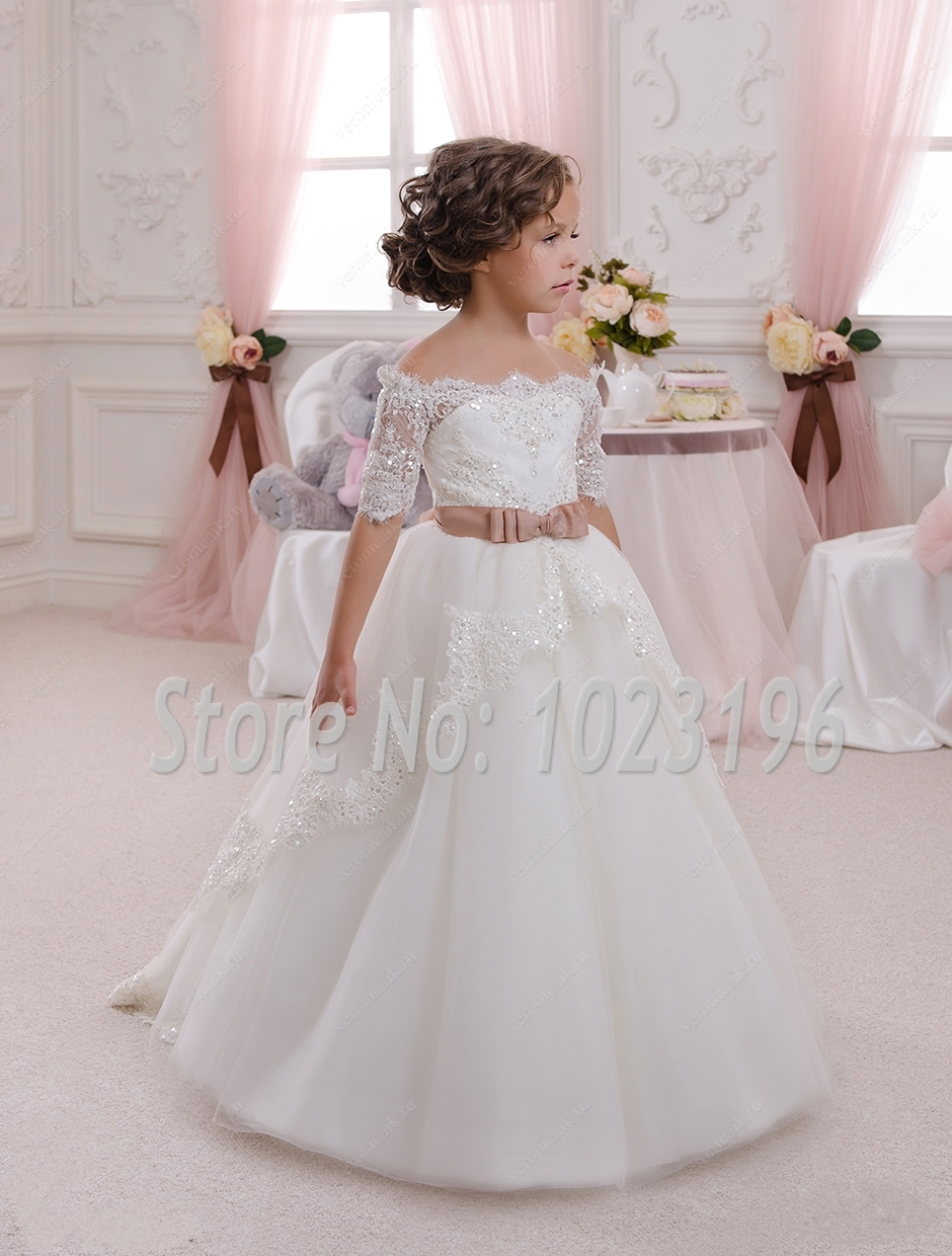 2016 new hot white ivory lace flower girls dresses with belt floor length girls first communion. Black Bedroom Furniture Sets. Home Design Ideas