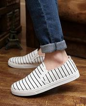 2015 summer new striped canvas shoes men s fashion breathable low to help flat casual shoes
