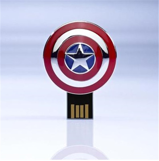 Hot selling Captain America's shield Usb card reader alloy metal 32GB pendrives alloy flash drive with string S62(China (Mainland))
